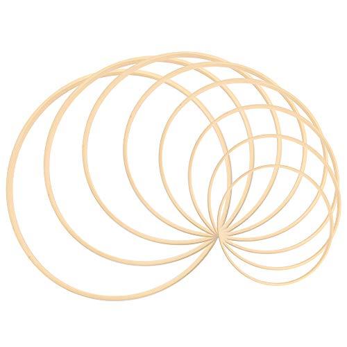 Sntieecr Makramee-Ring-Set, 8 Größen Bambusholz Makramee Basteln Ringe für Hochzeits-Kranz, Traumfänger und Handwerk (7,5 cm, 10 cm, 12,5 cm, 15 cm, 17,5 cm, 20 cm, 22,5 cm, 25 cm)