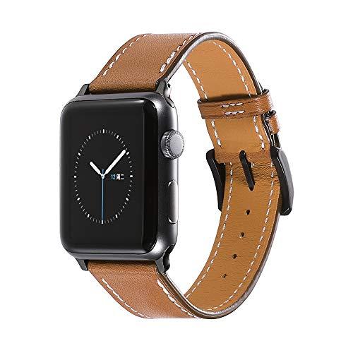 CHIMAERA Compatible para Apple Correa de Reloj Correa de 38mm 42mm para iWatch & Sport & Classic Series 1/2 / 6 Pulsera de Piel de Becerro