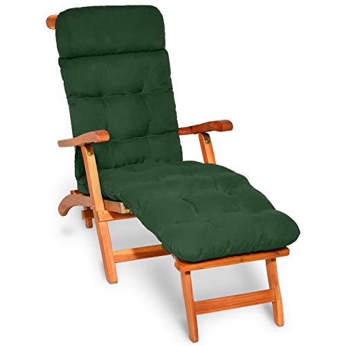 Beautissu Auflagen für Deckchair Flair DC Gartenliege Auflage 200x50x8cm Liegestuhl Polster mit Schaumflockenfüllung Gartenmöbel Kissen in Dunkelgrün