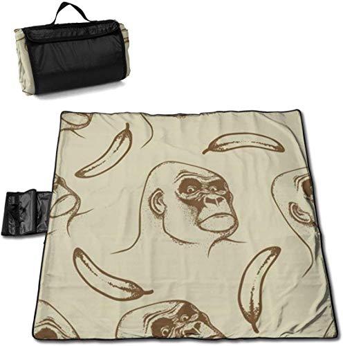 N/A Große wasserdichte Picknickdecke für den Außenbereich, witzige Gorilla Banana Sandfeste Strandmatte Tragetasche für Camping, Wandern, Gras Reisen