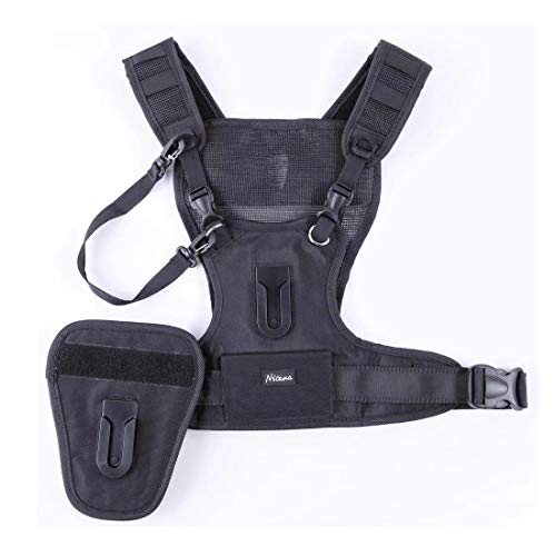 Nicama Multi Camera Carrying Chest Harness Vest System with Side Holster and Secure Straps for Canon Nikon Sony Panasonic Olympus DSLR Cameras