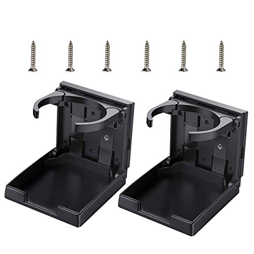 Linkstyle 2 Pcs Folding Car Cup Holder with Screws and Tapes, Universal Adjustable Automotive Cup Bracket Mount Tray Support for Car Truck Boat Van (Black)