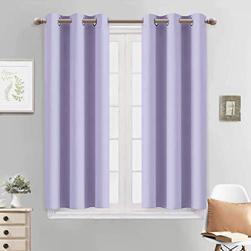Yakamok Blackout Curtains for Bedroom - Grommet Thermal Insulated Room Darkening Curtains for Living Room, Set of 2 Panels (38 x 45Inch, Lilac)