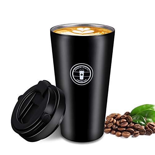 Gifort Kaffeebecher aus Edelstahl, Isolierbecher Doppelwandig mit Vakuumisolierung, Kaffee to go Becher 500ml für Kaffee/Tee/Wasser/Reisen/Büro, rostfrei 100% Auslaufsicher Wiederverwandbar (schwarz)