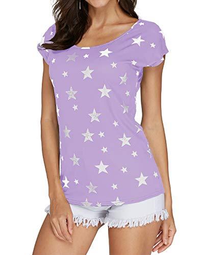 YOINS Camiseta para Mujer Manga Larga Elegante Blusa Suelta de Cuello Redondo Camisa con Estampado...