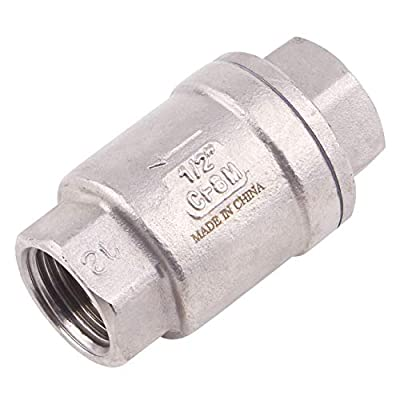 """AIICIOO Vertical Check Valve Spring Loaded - 1/2"""" NPT Stainless Steel in-line Low Cracking Pressure CF8M WOG 1000 by AIICIOO"""
