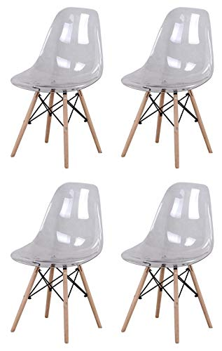 Y&D HOME Lot de 4 chaises de salle à manger de style nordique avec assise en plastique acrylique transparent et pieds en bois pour cuisine, salon, bureau, hall, réception, salle d'attente (Blanc)