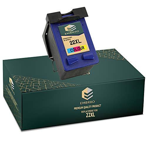 EMBRIIO 22 22XL Color Cartucho de Tinta Reemplazo para HP Deskjet F2120 F2180 F2280 F335 F375 F380 F390 F4180 F4190 3940 D1460 D1530 D2360 D2460 Officejet 4315 4355 PSC 1410 1415
