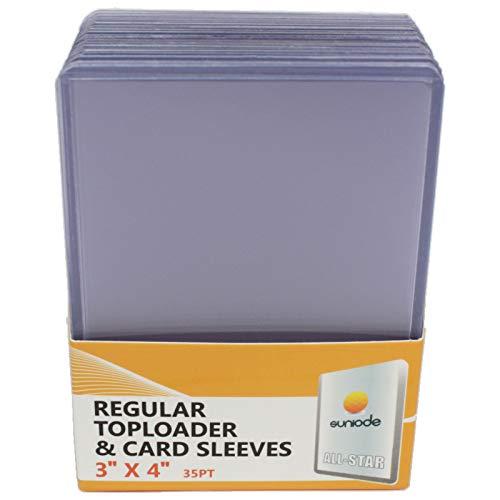 """suniode Toploader Regular Ultra Clear - Juego de 25 fundas para tarjetas (3"""" x 4"""", 25 unidades)"""