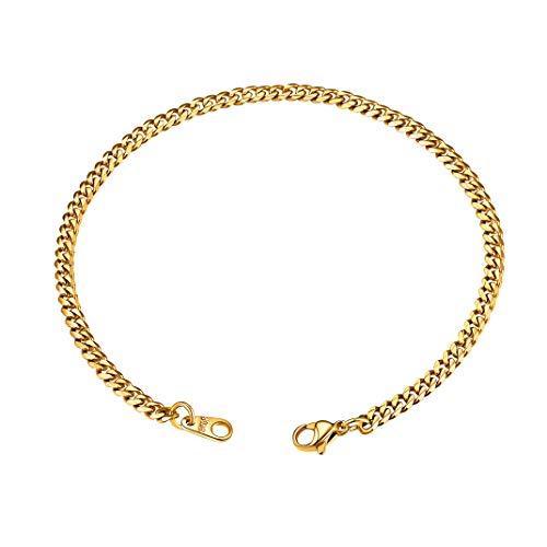 GoldChic Dorado Brazalete Pulsera para Hombre, Artesanía Diamant Cut, 21cm de Largo 3mm de Ancho, Acero Inoxidable Chapado en Oro, GRTIS Caja de Regalo