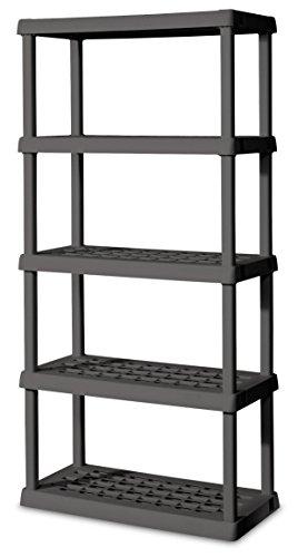 Sterilite 01553V01 5 Shelf Unit, Flat Gray Shelves & Legs, 1-Pack