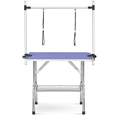 "Grooming Tables for Dogs Cats Professional Pet Grooming Tables Adjustable Height 46""x 24"" Heavy Duty Dog Pet Tables Blue"