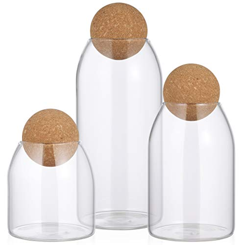 BESTonZON 3pcs Glass Storage Jar with Wood Lid Ball Clear Candy Jar Food Storage Canister for Serving Tea Coffee Spic Sugar Salt, 3 Different Sizes, 500ml, 800ml, 1200ml