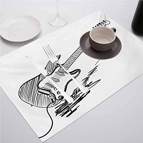 Heat Resistant Dining Table Place Mats Kitchen Table Mats, Guitar Hand Drawn Style Electric Guitar on White, Table Mats for Restaurants and Parties, Set of 6