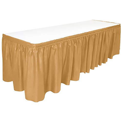 DecorRack Table Skirt, 29 in x 14 ft -BPA Free- Plastic Tableskirt, Disposable, Reusable, Rectangular Tablecloth Skirt, Gold (1 Pack)