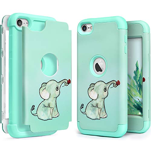 iPod Touch Armor Case with 2 Screen Protector for Kids, IDWELL [Three Layer Armor Series] Heavy Duty Protection Shockproof High Impact Protective Anti Slip Anti-Scratch Cover , Elephant