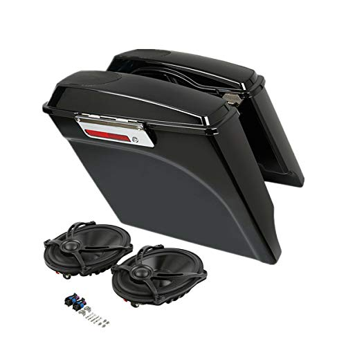 Read About SLMOTO 5 Inch Stretched Saddle Bags Extended Saddlebags w/5x7 Speakers Fit for Harley To...