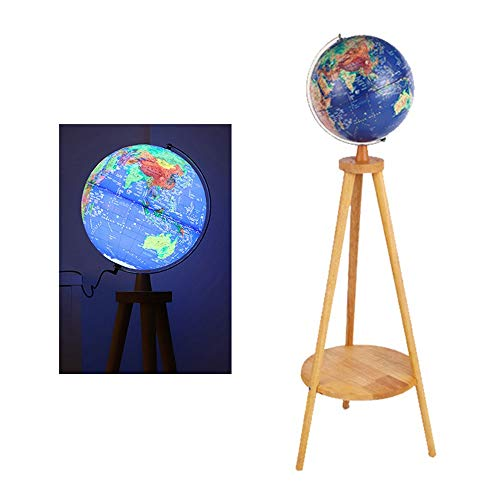 DHTOMC wereldbol, op realiteit, verticaal statief, reliëf, reliëf, grote led-desk globe voor thuis, decoratie wereldbol voor opleiding