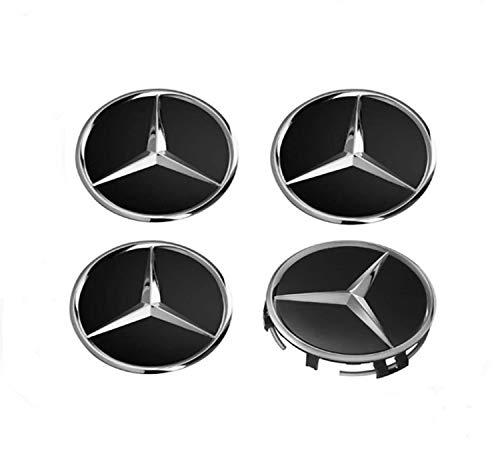 IGGY 4 x Tapones Tapacubos Negro Logo Mercedes de 60 mm - Clase A B C E CLK GL M ML SLK - para Tachuelas Círculos Aleación
