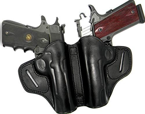 HOLSTERMART USA Dual 2-Gun Small-of-The-Back (SOB) Holster in Black Premium Leather for Nonrail 5' 1911, Any Make, Colt, Kimber, Springfield, Taurus, Remington, CZ, Dan Wesson, etc.
