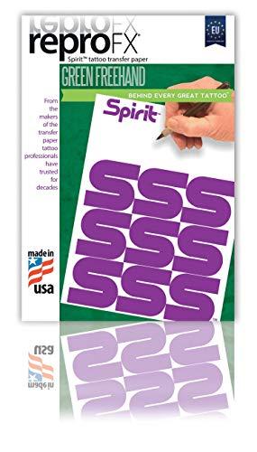 SPIRIT Green A4 Matrizenpapier für Handskizzen, 10 Blatt, für Tattoo Vorlage