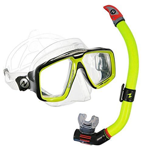 Abenteuertauchen Aqualung Schnorchelset Comfort - Maske Look HD mit Schnorchel Air Ventil, Farbe:Gelb