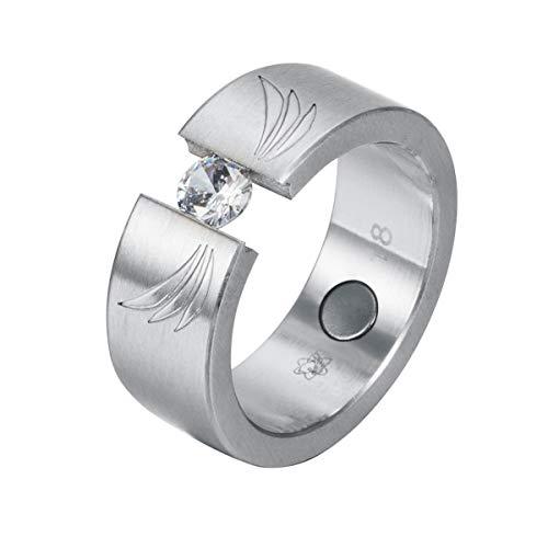Wings Fashion Design Magnetring mit Swarovski Solitaire Crystal ENERGETIX 4you Magnetschmuck 2752 mattiert im Schmucksäckchen