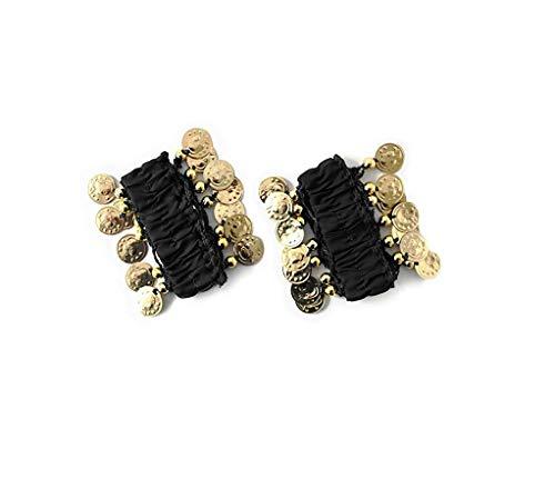 Shangrui Joyas para mujer con brazalete para danza del vientre Pulseras de cadena de múltiples colores con monedas de color dorado
