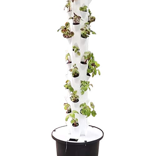 Garden Tower Hydroponic Aeroponic Growing System | 48 Plants | PVC Vertical Gardening System for Growing Variety of Fresh Vegetables, Herbs, & Fruits | Includes Net Pots, Timer and Submersible Pump