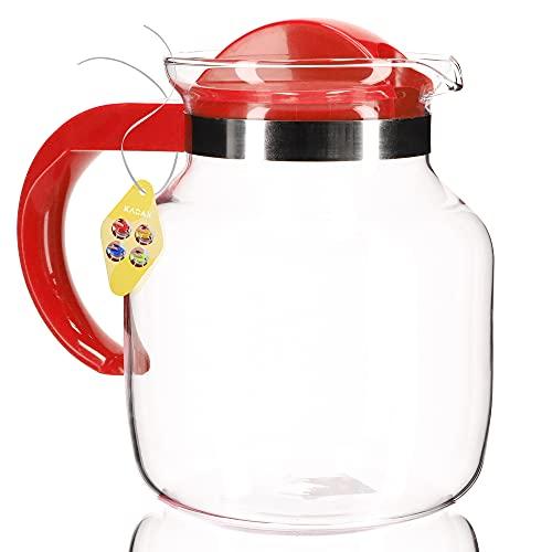 KADAX Teekanne mit Deckel, 1.5 Liter, feuerfeste Glaskanne aus Borosilikatglas und Kunststoff, hitzebeständig, Kanne für Kaffee, Tee, Saft, Wasser, Getränke, Teekrug (rot)