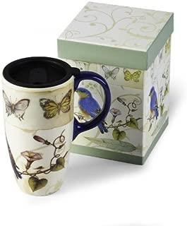 Cypress Latte Travel Mug, Blue Bird & Butterflies 19oz