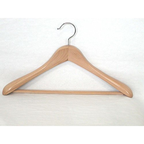VidaNaticle Taurus Wide Shoulder Suit Hanger with PVC Ribbed Bar, Suitable for Heavy Coat and Suits, 12 pcs/case, Natural