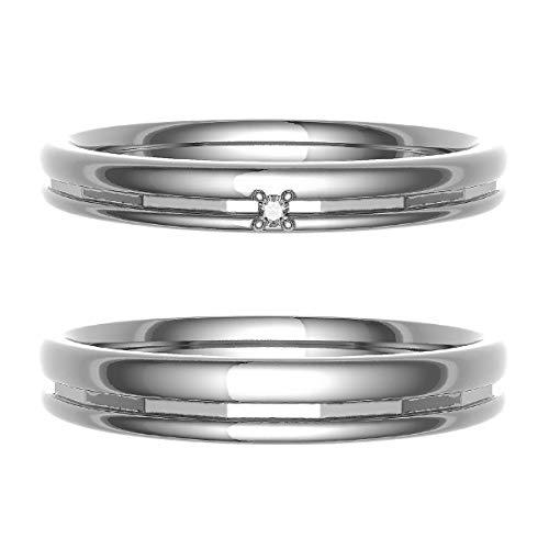 [ココカル]cococaru ペアリング 結婚指輪 シルバー 2本セット マリッジリング ダイヤモンド 日本製(レディースサイズ16号 メンズサイズ12号)