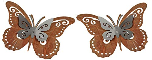 CAGO Schmetterling Wandschmuck 2erSet Gartendeko aus Metall Rosteffekt 24cm Wanddeko Terrasse Balkon Garten