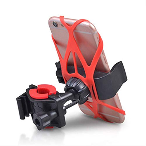 ZHTY Universal Bicycle Motorcycle Phone Holder with Secure Grip, Motorcycle Phone Clamp, Adjustable Clamp with Silicone Band for 95% Phones on Market,Red SONG (Color : Red)