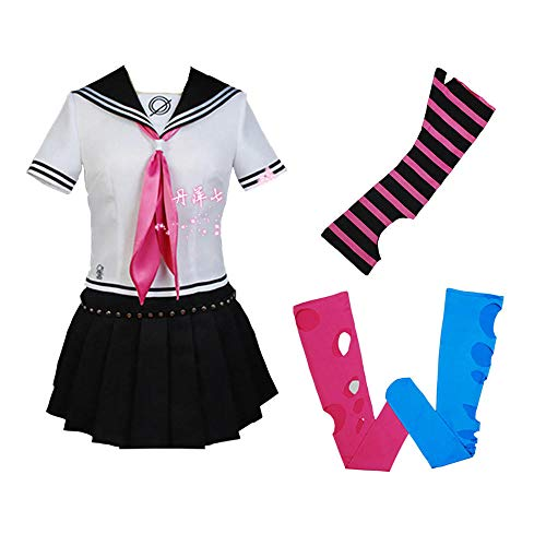 NiQiShangMao Japanische Schuluniform Matrosenanzug, Anime Super Danganronpa 2 Mioda Ibuki Cosplay Halloween Party Karneval Kostüme