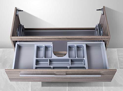 Intarbad ~ Waschtisch Unterschrank als Zubehör für MyStyle 85 cm Waschtisch, mit Kosmetikeinsatz Weiß Hochglanz Lack IB5044