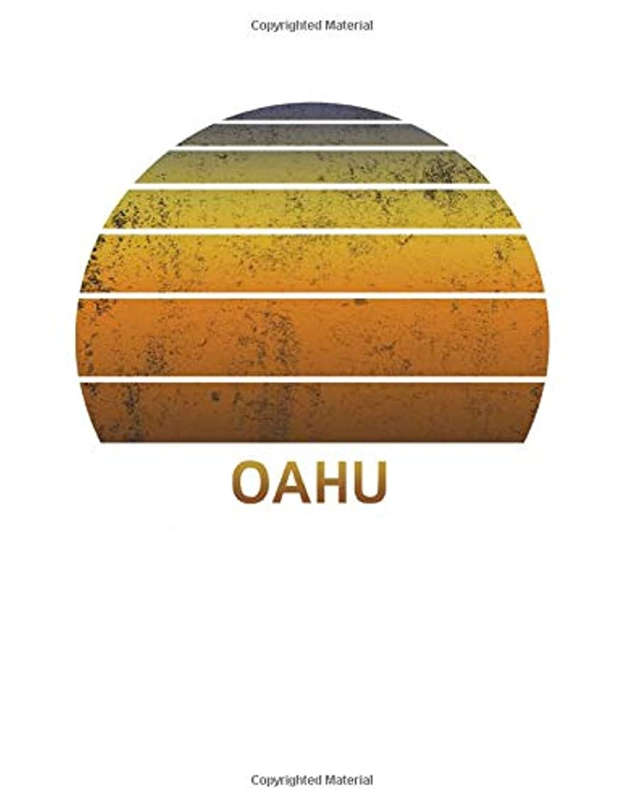 Oahu: Notebook With Lined College Ruled Paper For Taking Notes. Stylish Vintage Travel Journal Diary 8.5 x 11 Inch Soft Cover.
