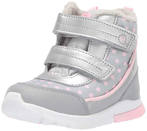 Stride Rite Baby-Girl's Made2Play Shay Snow Boot, Silver, 9 W US Toddler