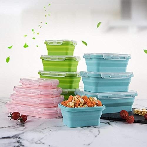 134Pc Siliconen Opvouwbare Bento Box Opvouwbare Draagbare Lunchbox voor Voedsel Servies Voedsel Container Kom Lunchbox Servies Newpink800ml