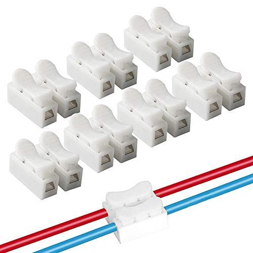 QitinDasen 100Pcs Premium CH2 Federdrahtverbinder, Schnelldrahtverbinder Verbindungsklemmen, Kabelklemme Klemmenblock, Elektrische Drähte an die LED Streifen Licht Draht Anschluss