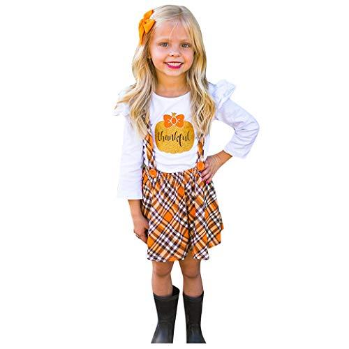 1-5 Años,SO-buts Niño Bebé Niña Acción De Gracias Camiseta De Manga Larga Falda De Tirantes a Cuadros Conjunto De Trajes De Estampado De Calabaza Informal (Blanco,2-3 años)