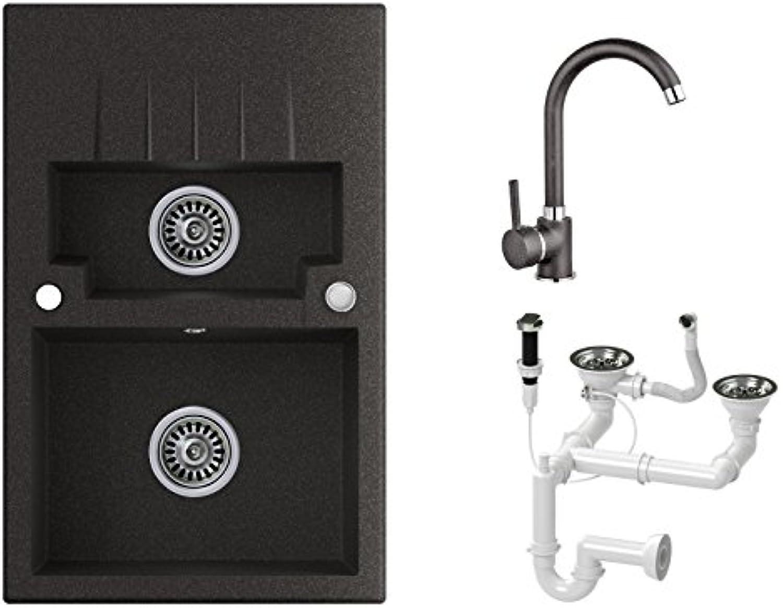 Granitspüle graphit, Armatur 5000 - Hochdruck, 2-Becken, Drehexcenter + Siphon, Spülbecken, Küchenspüle, Schrankbreite ab 60 cm