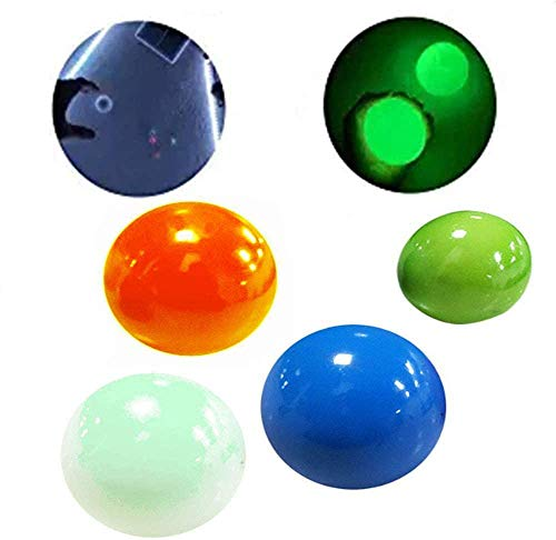 4 Glow Stress Relief Balls Sticky Ball, Stick to The Wall and Slowly Fall Off, Glow Stress Relief Toys for Kids and Adults Tear-Resistant, Non-Toxic, Fun Toy for ADHD, OCD, Anxiety