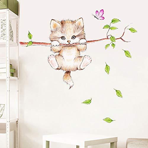 WandSticker4U®- Wandtattoo süße KATZE für Kinderzimmer I Wandbilder: 77x55 cm I Wand Deko Baum Ast Tiere Kinder I Wandsticker Babyzimmer Mädchen Junge Baby Tür-aufkleber Fenstersticker