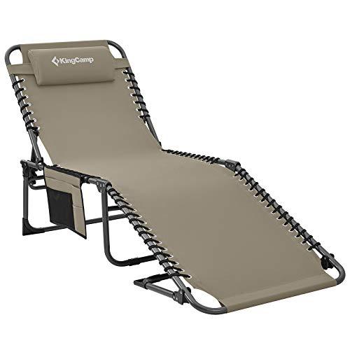 KingCamp Tumbona reclinable de 4 Posiciones, Ajustable, Plegable, Resistente, para Camping, Cama Plegable con Almohada y Bolsillo para Patio, jardín, Playa, Piscina, Tienda de campaña