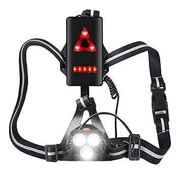 MOCOLI Rechargeable USB LED Eclairage de Poitrine pour Course?4 Modes 500LM Étanche avec Feux Rouge, Idéal pour Jogging, Promenade, Courir, Pêche, Escalade, Camping, Sports Extérieur