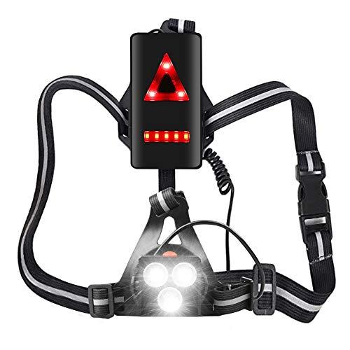 MOCOLI Luz para Correr Running, Luz del Pecho, Recargables USB Impermeable, 4 Modos 500 Lúmenesx3LEDS, luz Trotar, Pescar, Acampar, pasear Perros y más
