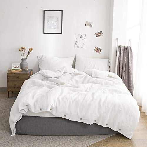 Simple&Opulence 100% Linen Duvet Cover Set with Coconut Button Closure Stone Washed - 3 Pieces (1 Duvet Cover & 2 Pillowcases) Soft Breathable Farmhouse - White, Californian King Size