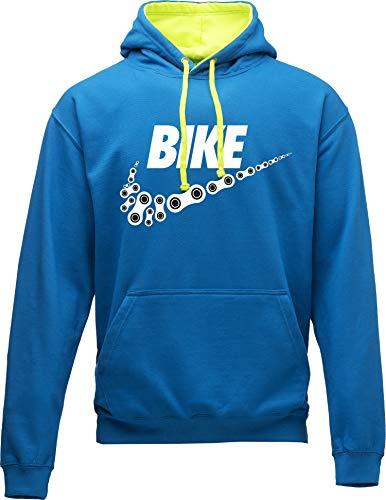 Hoodie: Neon Bike - Fahrrad Kapuzenpullover für Herren & Damen - Geschenk Radfahrer Radsport - Sweatshirt Mountain-Bike MTB Rennrad Tour - Sweater Outdoor Hoody Hooded Kapuze-n Pullover (Blau L)